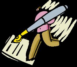 Girl Cartoon Hold Pen