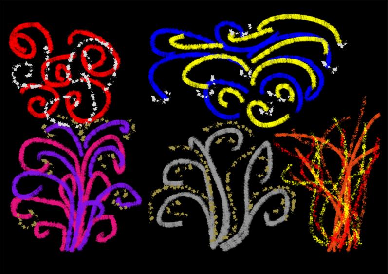 Firework drawing on black