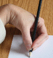 Left hand hook pencil grip